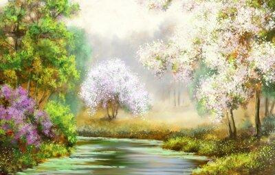 Quadro Primavera, Albero, Fiume, paesaggi dipinti