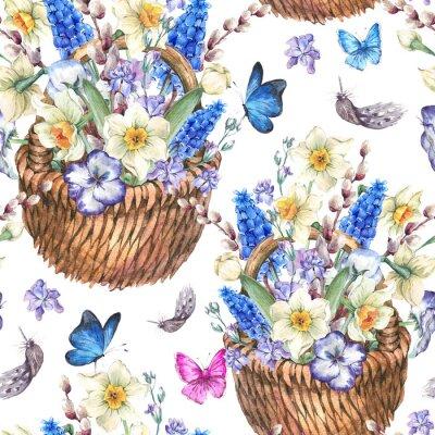 Quadro Primavera seamless con narcisi in vimini