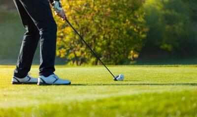 Quadro Primo piano dell'uomo che gioca a golf sul corso verde