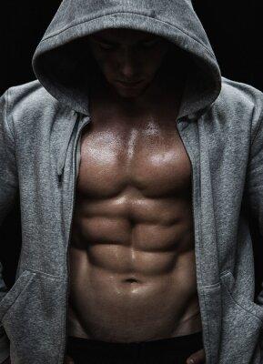 Quadro Primo piano di uomo muscoloso sportiva dopo i pesi di formazione