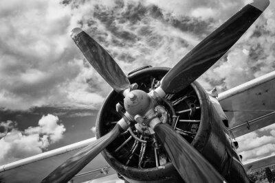 Quadro Primo piano di vecchio aeroplano in bianco e nero