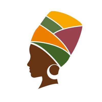 Quadro Profilo Vettore di donna africana con il cappello
