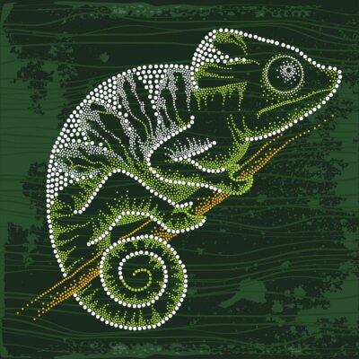 Quadro Punteggiato Chameleon seduto sul ramo