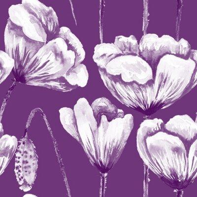 Quadro Purple and white poppy pattern