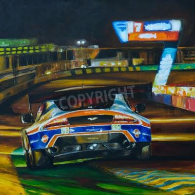 Quadro Quadro dipinto a mano di auto da corsa guidare di notte con l'alta velocità in circuito. Illustrazione creata con acrilico
