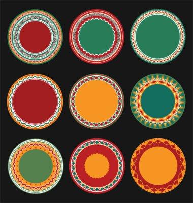 Quadro Raccolta dei messicano rotonda decorativo Border frame con sfondo nero pieno