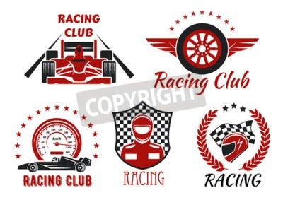 Quadro Racing simboli di corse e motociclisti con ruote a corsa aperta, corridore, casco protettivo e ruota alata, incorniciato da tachimetro, bandiera da corsa, scudo a scacchi, corona di alloro e stelle