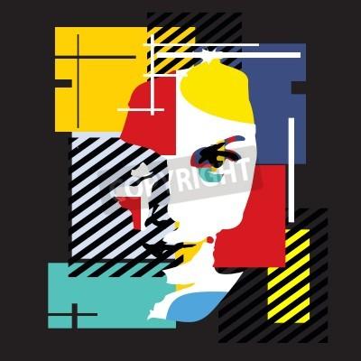 Quadro Ragazza alla moda. Illustrazione moderna. Cubismo