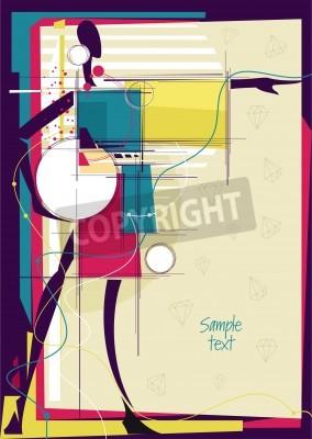 Quadro Ragazza astratta in luminoso moda sfondo. Posto per il testo. Illustrazione vettoriale.