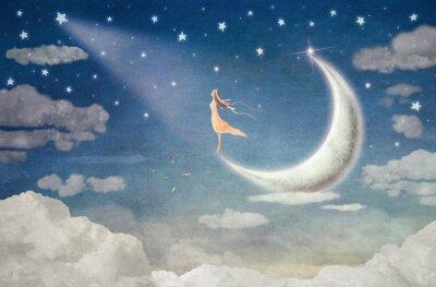 Quadro Ragazza sul luna ammira il cielo notturno - illustrazione arte