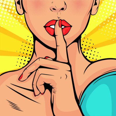 Quadro Ragazza top secret di silenzio. La bella donna si mise un dito sulle labbra, chiedendo silenzio. Sfondo colorato vettoriale in stile fumetto comico retrò.