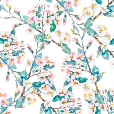 Quadro rami primavera pattern.Flowering. Acquerello. Vettore.