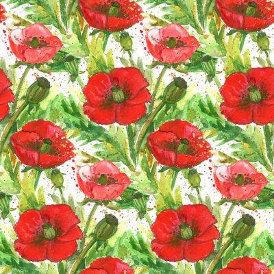 Quadro Red Poppies Acquerello Illustrazione
