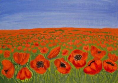 Quadro Red poppies on meadow