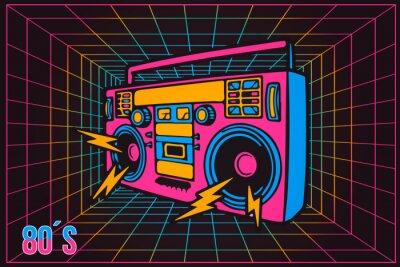 Quadro Registratore di party anni '80 retrò pop party anni '80, stile cartoon neon