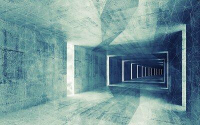 Quadro Rendering 3D, verde tonalità blu astratto vuoto interiore bac cemento