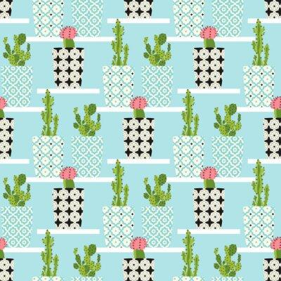Quadro Reticolo di vettore con cactus. fiori di cactus svegli in vasi ornamentali. disegno a mano illustrazione.