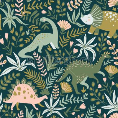 Quadro Reticolo senza disegnato disegnato a mano con dinosauri e foglie e fiori tropicali. Perfetto per i bambini tessuto, tessuto, carta da parati vivaio. Carino design Dino. Illustrazione vettoriale