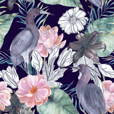 Quadro Reticolo senza giunte dell'acquerello con elementi di inchiostro. Uccelli e fiori esotici Illustrazione disegnata a mano