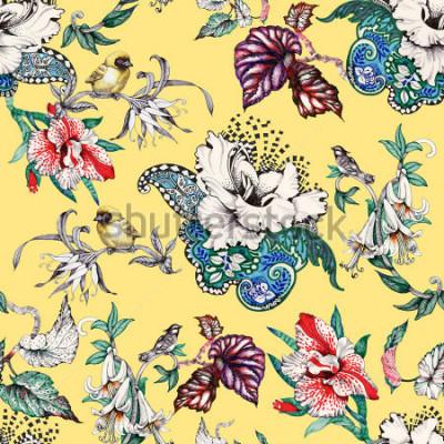 Quadro Reticolo senza giunte disegnato a mano dell'acquerello con fiori tropicali estivi ed uccelli esotici su priorità bassa gialla