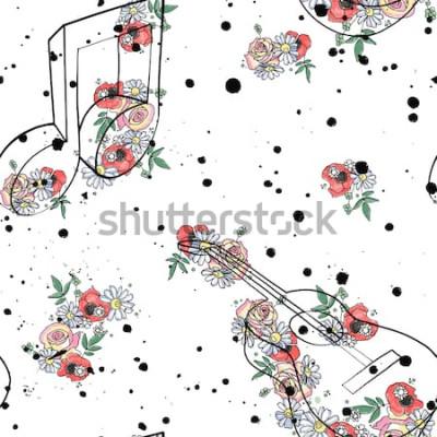 Quadro Reticolo senza giunte grafico illustrazione di note musicali di chitarra, fiori foglie ramo gocciolare macchia macchia inchiostro, splodge, spray Schizzo disegno stile doodle Artistico astratto acquer