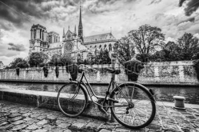 Quadro Retro bici accanto alla Cattedrale di Notre Dame a Parigi, in Francia e la Senna. Annata in bianco e nero