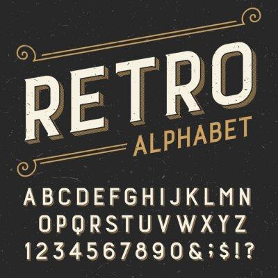 Quadro Retro carattere alfabeto vettore. Serif digitare lettere, numeri e simboli. su uno sfondo scuro in difficoltà graffiato. Vettoriali tipografia per le etichette, i titoli, poster ecc