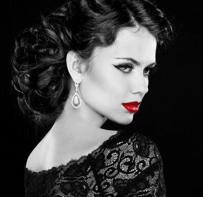 Quadro Retro donna. Foto in bianco e nero.