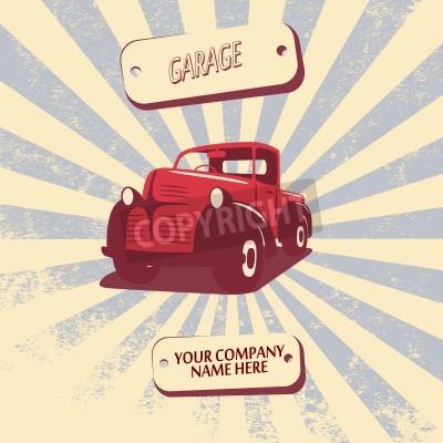 Quadro Retro illustrazione di vettore dell'automobile del camioncino dell'annata adatta a promozione, a disegni della maglietta, ecc.