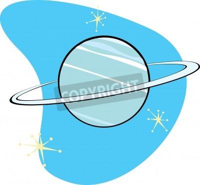 Quadro Retrò pianeta Nettuno è parte di un set completo di pianeta del sistema solare per il download.