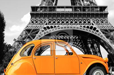 Quadro Retro purezza del colore arancione auto in strada