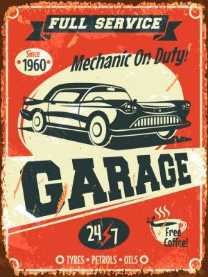 Quadro Retro segno di servizio di auto. Illustrazione vettoriale.