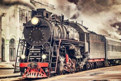 Quadro Retro treno a vapore parte dalla stazione.