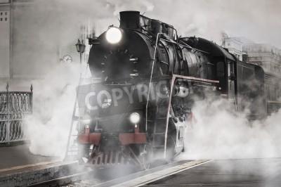 Quadro Retro treno a vapore parte dalla stazione ferroviaria