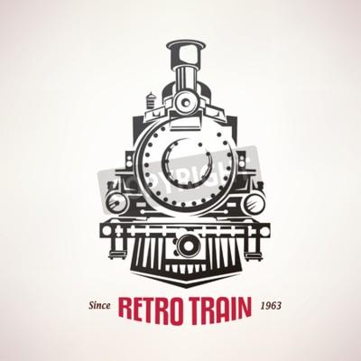 Quadro retro treno, simbolo vettore, emblema, modello di etichetta