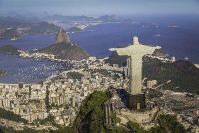 Quadro Rio de Janeiro, Brasile: Vista aerea del Cristo e Botafogo Bay