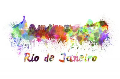 Quadro Rio de Janeiro skyline in acquerello