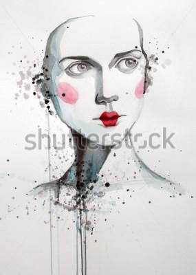 Quadro ritratto ad acquerello di bella donna | fatto a mano | fatto da sé | la pittura
