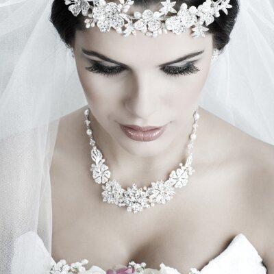 Quadro Ritratto di bella sposa. Abito da sposa. Decorazione di cerimonia nuziale