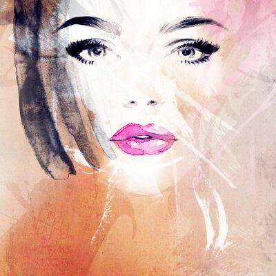 Quadro Ritratto di donna .abstract acquerello