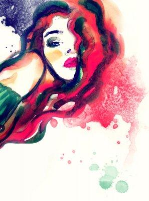 Quadro Ritratto di donna, acquerello astratto sfondo .fashion