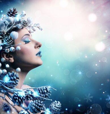Quadro Ritratto di donna inverno - Bellezza Modella Ragazza Con Snowy Decoration