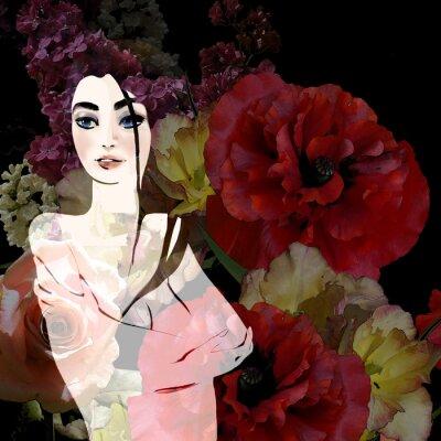 Quadro Ritratto di una bella bruna su sfondo floreale