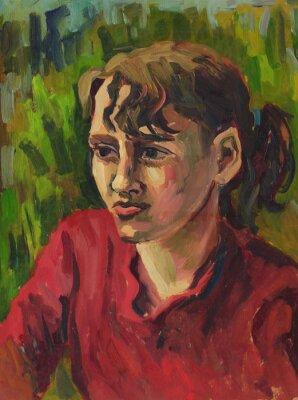Quadro Ritratto di una giovane ragazza. Pittura ad olio