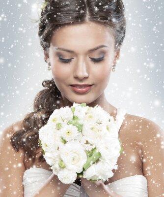 Quadro Ritratto di una giovane sposa in possesso di un mazzo di fiori