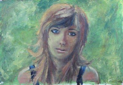 Quadro ritratto Ragazza astratta sulla pittura a olio su tela verde