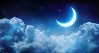 Quadro Romantic Moon In Starry Night Over Clouds