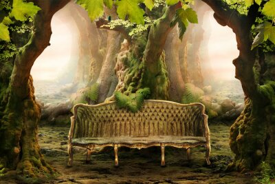 Quadro romantic seat in a deep forest