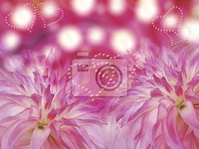 Quadro Rosa Dalie Fiori Su Sfondo Rosa Offuscata Composizione Floreale