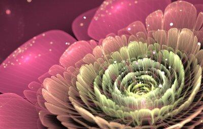 Quadro rosa e verde frattale fiore